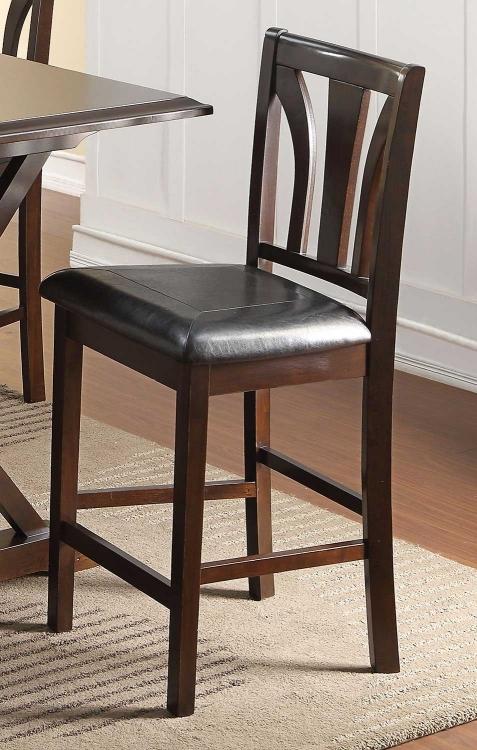 Kurtis Counter Height Chair - Black Vinyl/Cherry