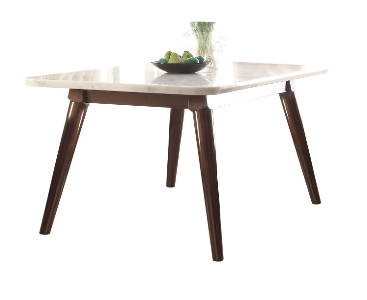Gasha Dining Table - White Marble/Walnut