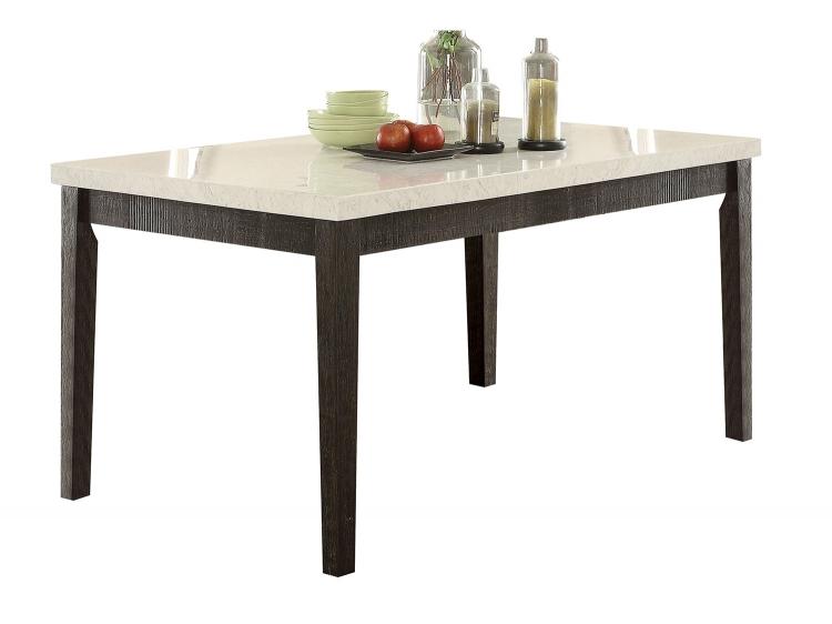 Nolan Dining Table - White Marble/Salvage Dark Oak