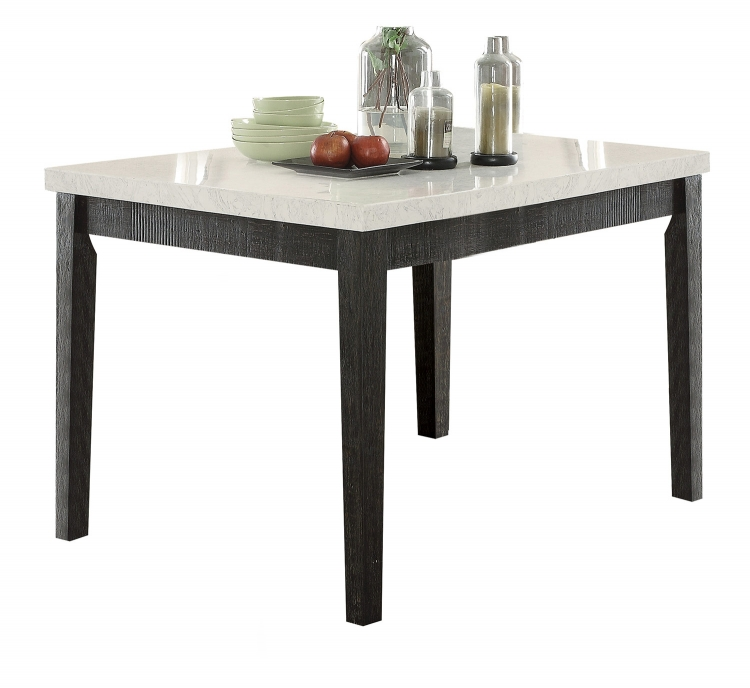 Nolan Counter Height Table - White Marble/Salvage Dark Oak
