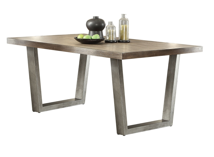 Lazarus Dining Table - Weathered Oak/Antique Silver