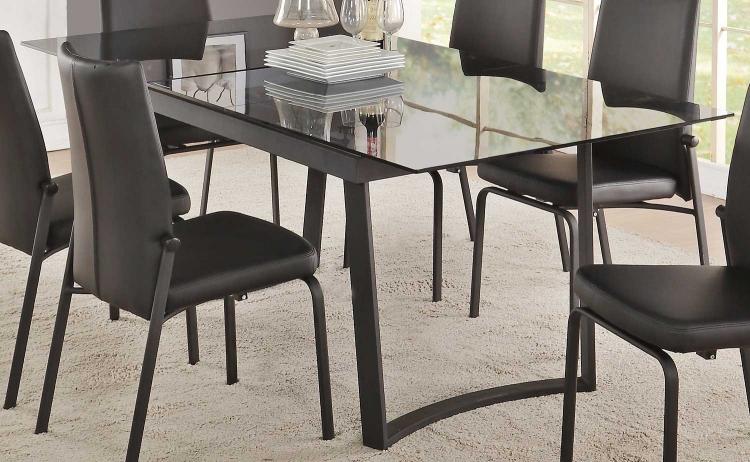 Osias Dining Table - Black/Smoky Glass