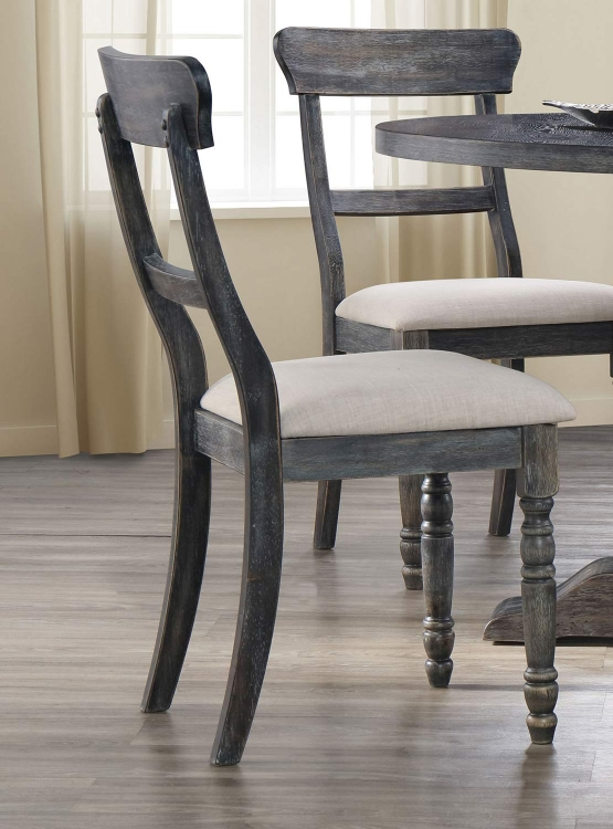 Leventis Side Chair - Light Brown Linen/Weathered Gray