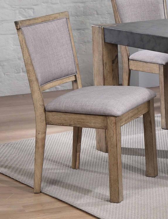 Paulina II Side Chair - Fabric/Rustic Oak