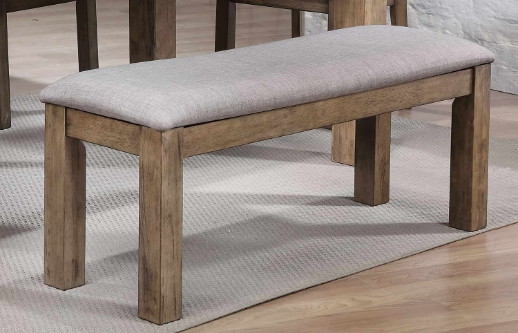 Paulina II Bench - Fabric/Rustic Oak
