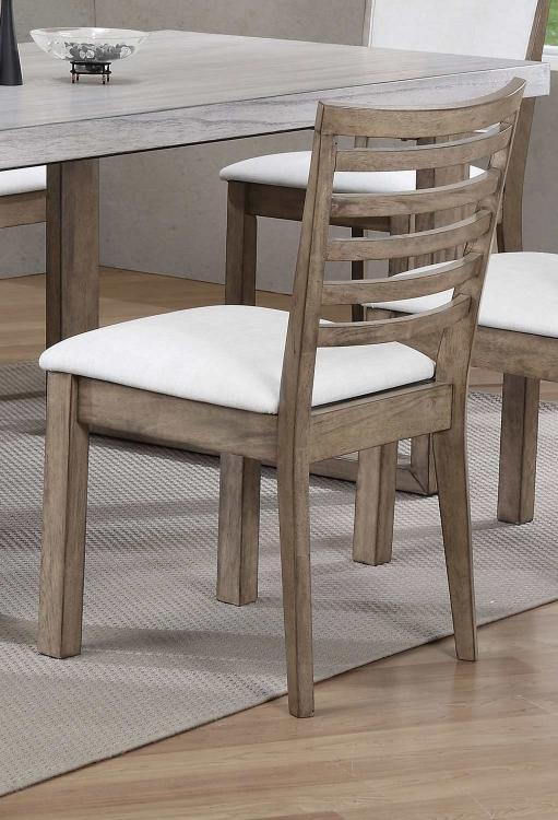 Paulina Side Chair (Slat Back) - White Vinyl/Rustic Oak