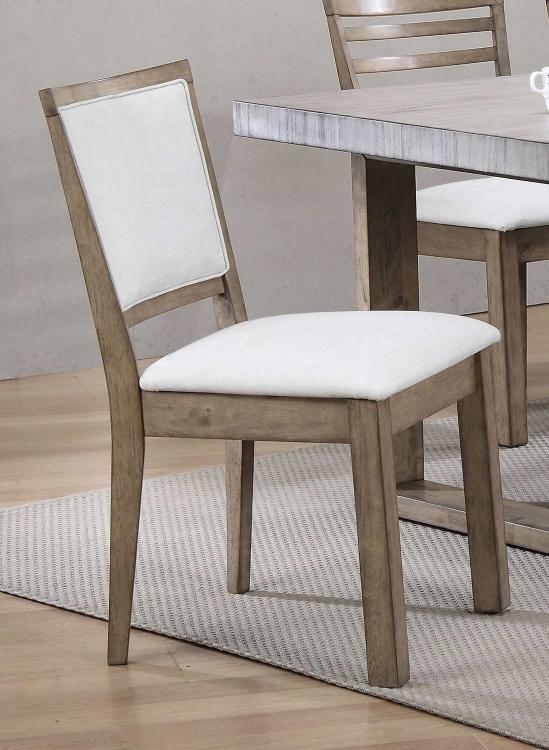 Paulina Side Chair (Cushion Back) - White Vinyl/Rustic Oak