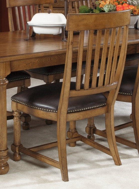 Americana Home Slat Back Side Chair With Leather Seat Cushion