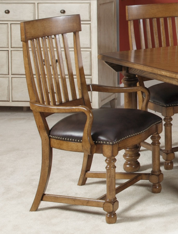 Americana Home Slat Back Arm Chair With Leather Seat Cushion