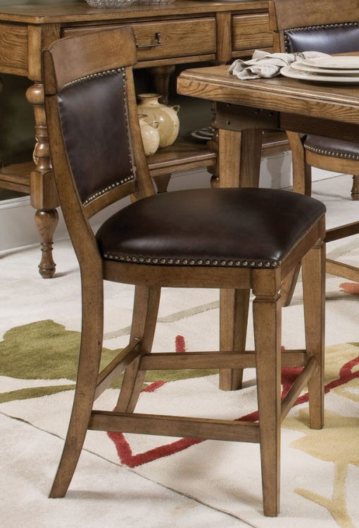 Americana Home Counter Height Leather Chair