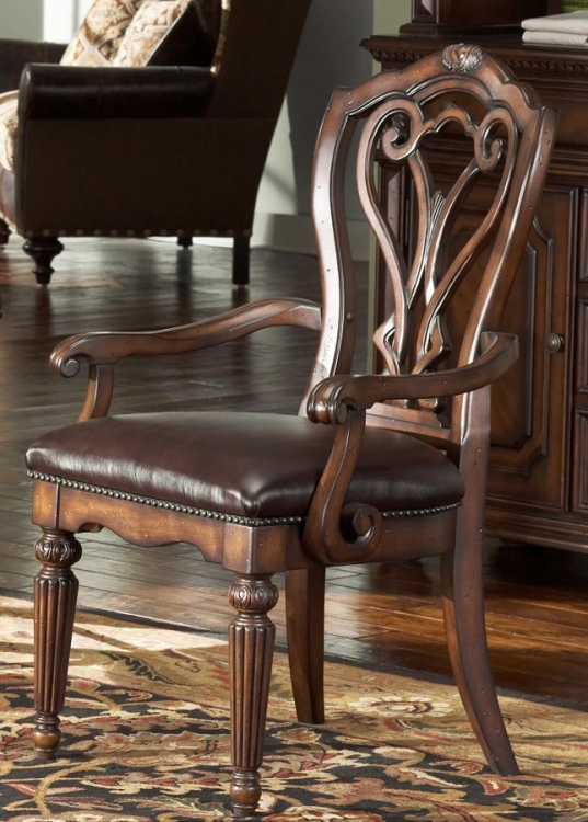 Barrington House Dining Arm Chair With Leather Seat
