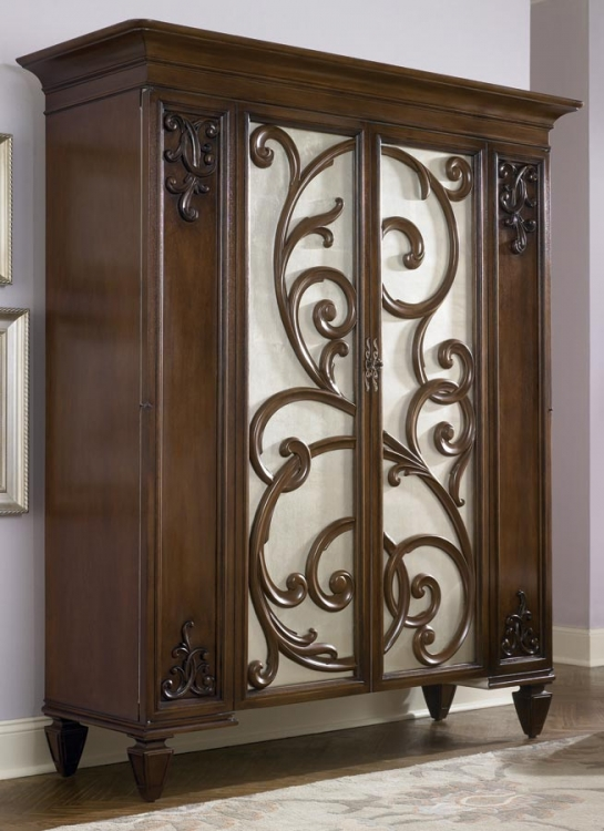 Jessica McClintock Couture Dressing Armoire with Castered Stool