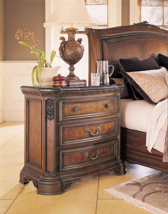 Grand Revival Dark Night Stand with Marble Veneer Top