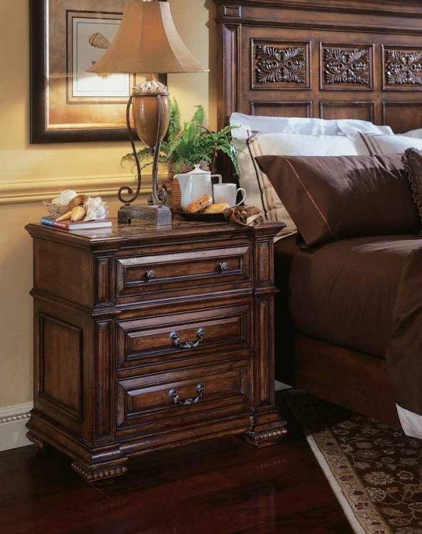 Marbella Night Stand with Stone Insert