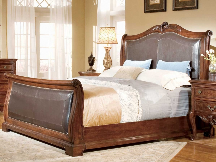 Bordeaux Bi-Cast Leather Sleigh Bed