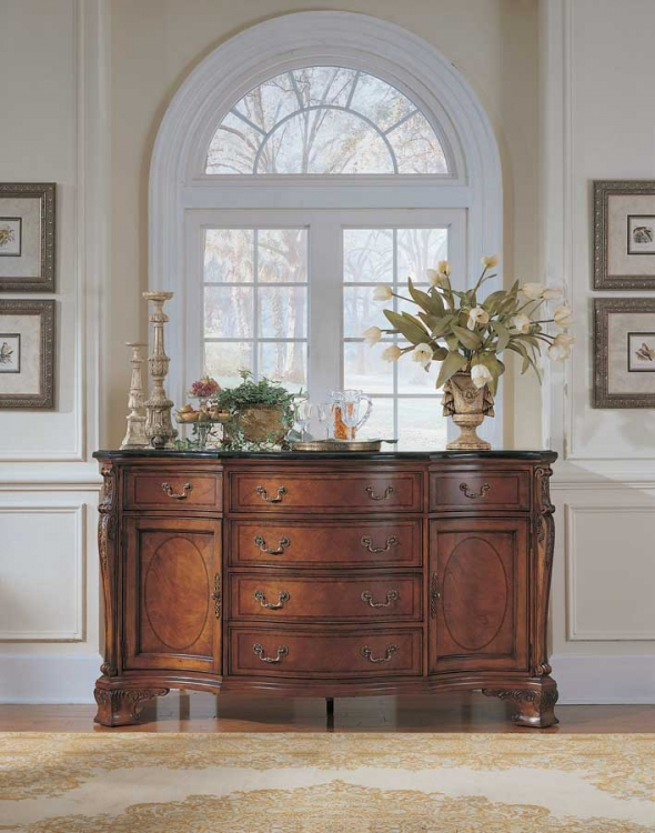 American Drew Wentworth Manor Credenza w/ Granite Top