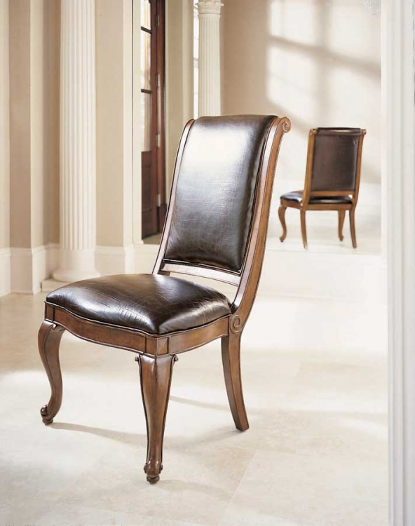 Bob Mackie Home Classics Side Chair Crocodile Embossed Leather