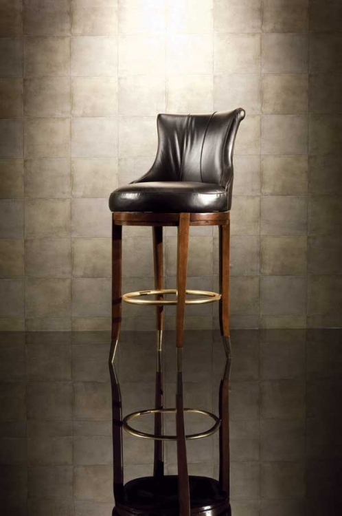 Bob Mackie Home-Signature Leather Barstool