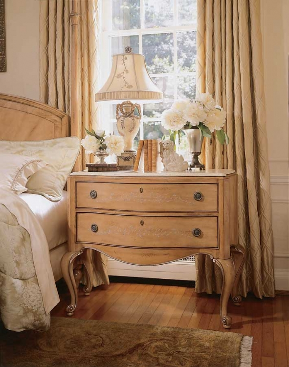 American Drew Jessica McClintock-Home Bachelor Chest with Travertine Top