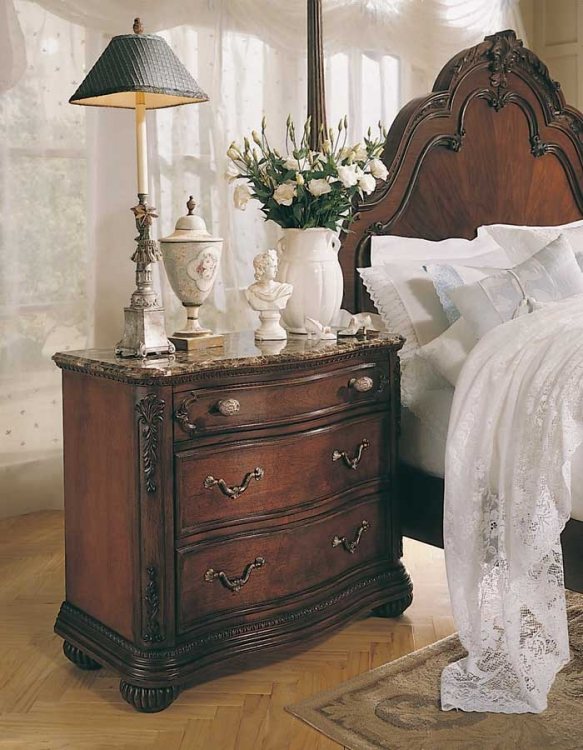 Jessica McClintock Home Romance Night Stand with Marble Veneer