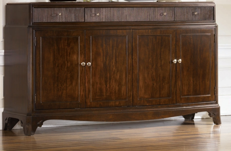 Sonata Bowed Credenza with Wood Top