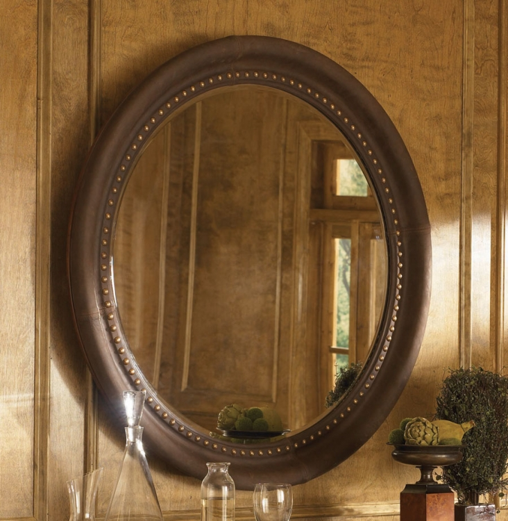 American Drew European Traditions Round Leather Mirror