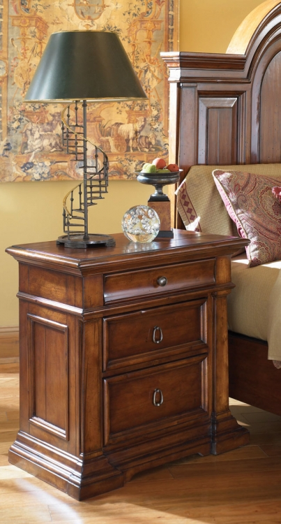 European Traditions Night Stand with Wood Top