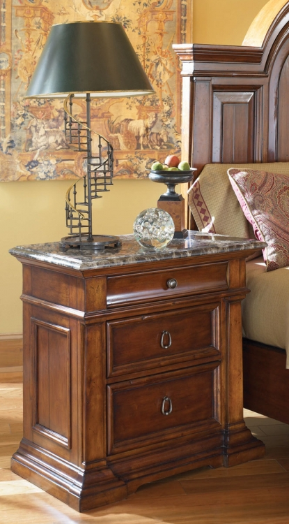 European Traditions Night Stand with Stone Top