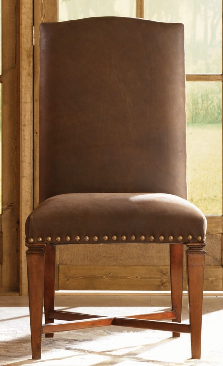 European Traditions Leather Side Chair