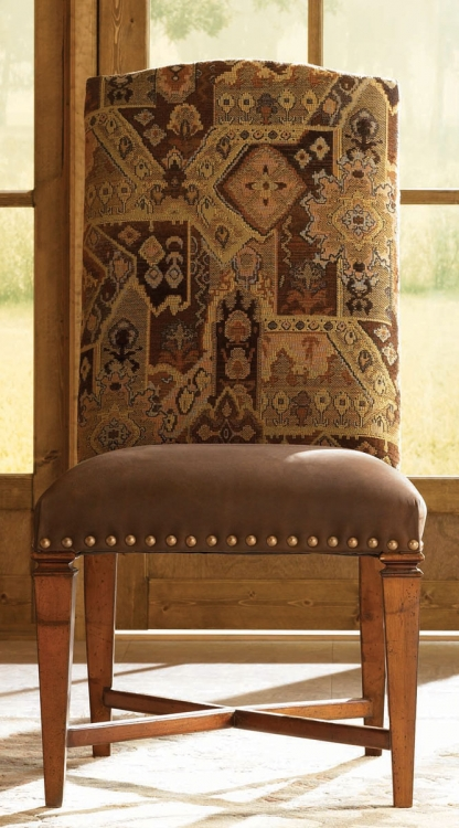 European Traditions Leather and Fabric Side Chair