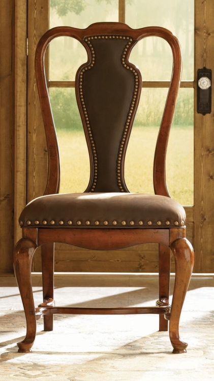 European Traditions Leather Splat Side Chair