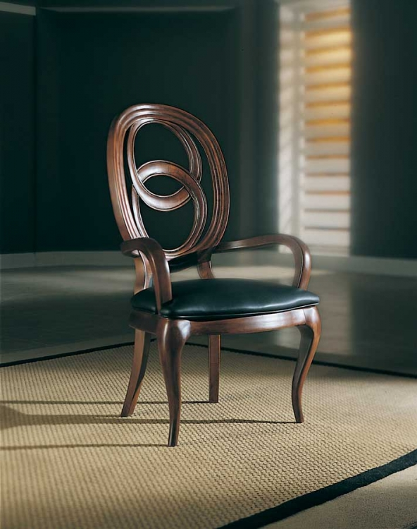 American Drew Advocate Black Leather Cameo Back Oval Arm Chair