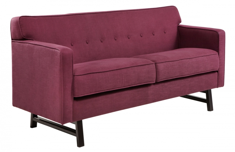 Halston Loveseat - Claret Purple Fabric