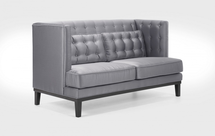 Noho Loveseat Silver Satin Fabric - Armen Living