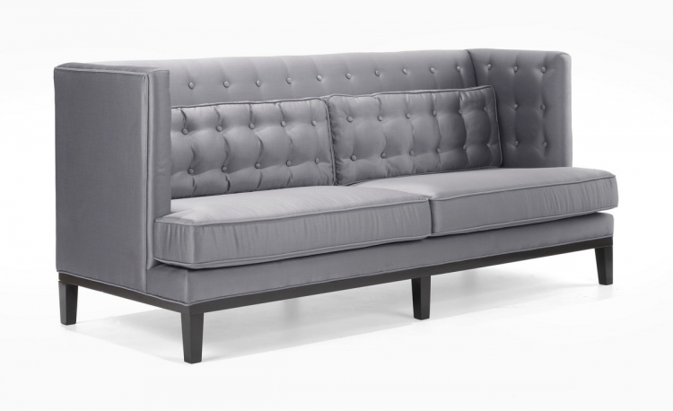 Noho Sofa Silver Satin Fabric - Armen Living