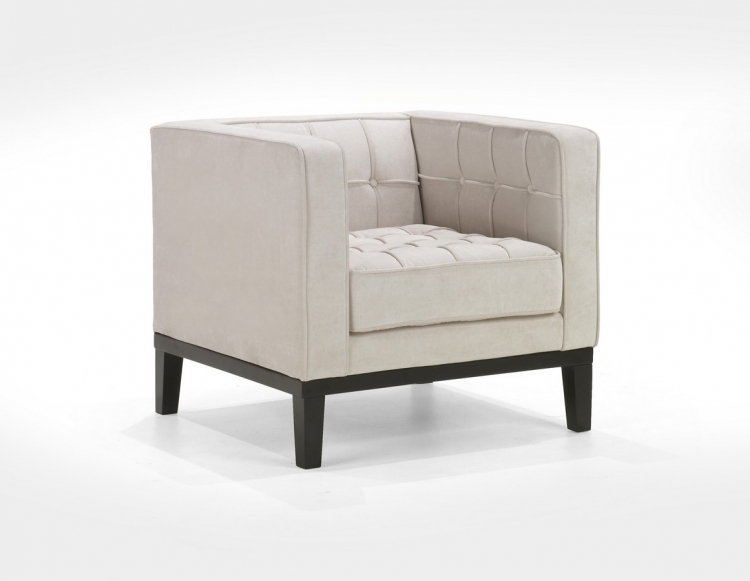Roxbury Arm Chair Tufted Cream Fabric