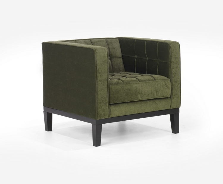 Roxbury Arm Chair Tufted Green Fabric