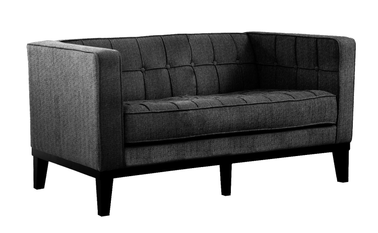 Roxbury Loveseat - Charcoal Fabric