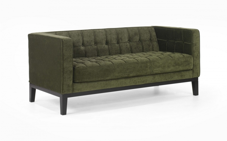 Roxbury Loveseat Tufted Green Fabric