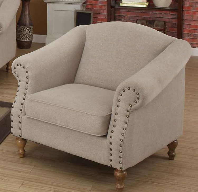 Maxwell Chair - Sand Linen Fabric - Armen Living