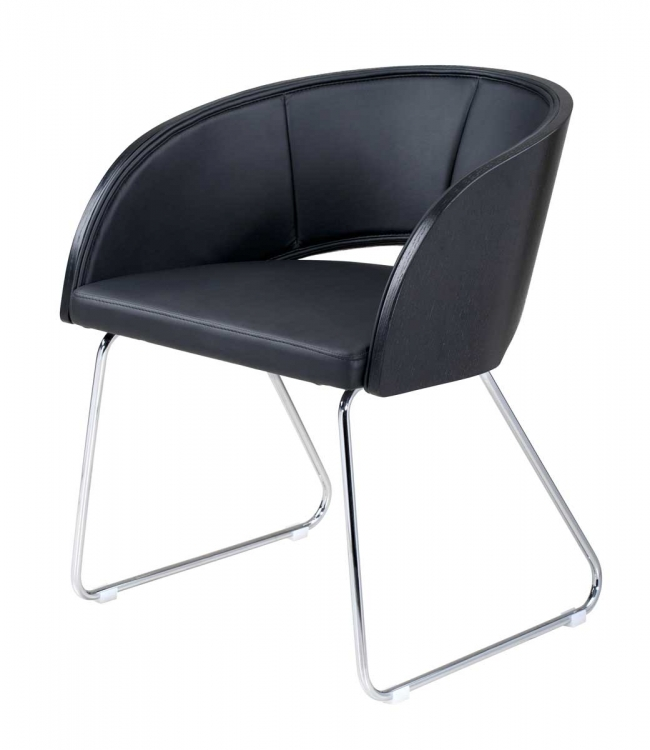 Gama Modern Club Chair - Black - Armen Living