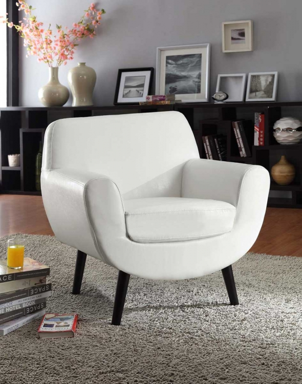 Jetson Club Chair - White Vinyl/Black Legs - Armen Living