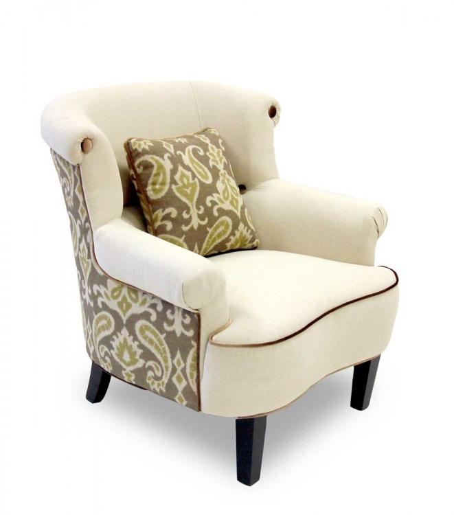 Deerfield Ikat Fabric Chair - Green and Cream