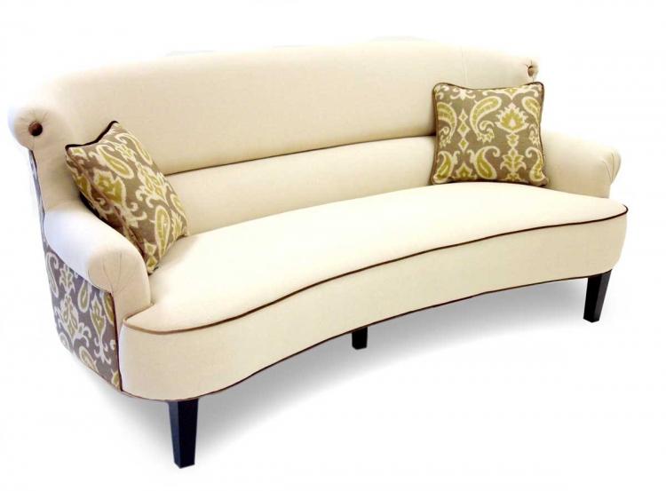 Deerfield Ikat Fabric Sofa - Green and Cream