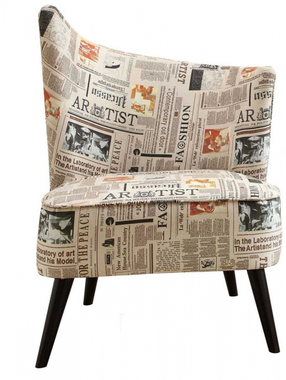 Elegant Accent Chair - Newspaper Fabric