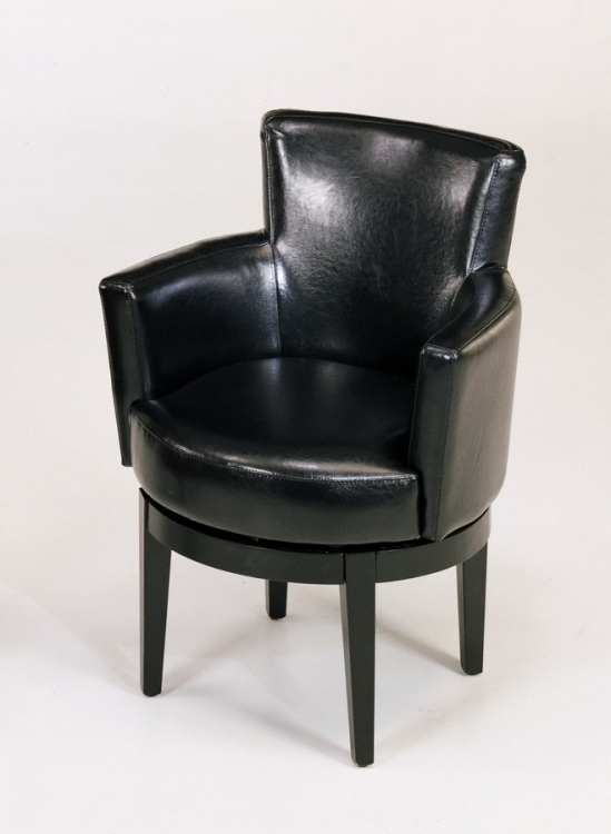 Black Leather Swivel Club Chair - Armen Living