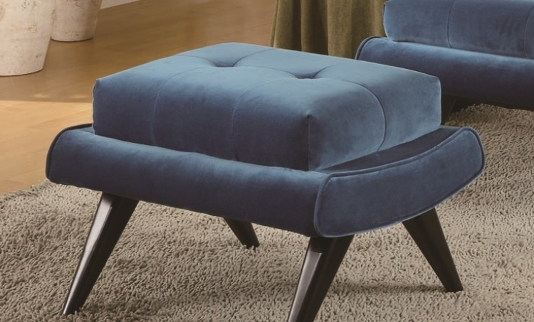5th Avenue Ottoman - Cerulean Blue Fabric - Ebony Wood Legs - Armen Living