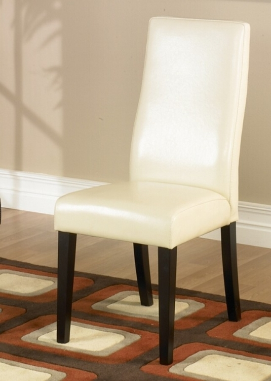 Cream Leather Side Chair