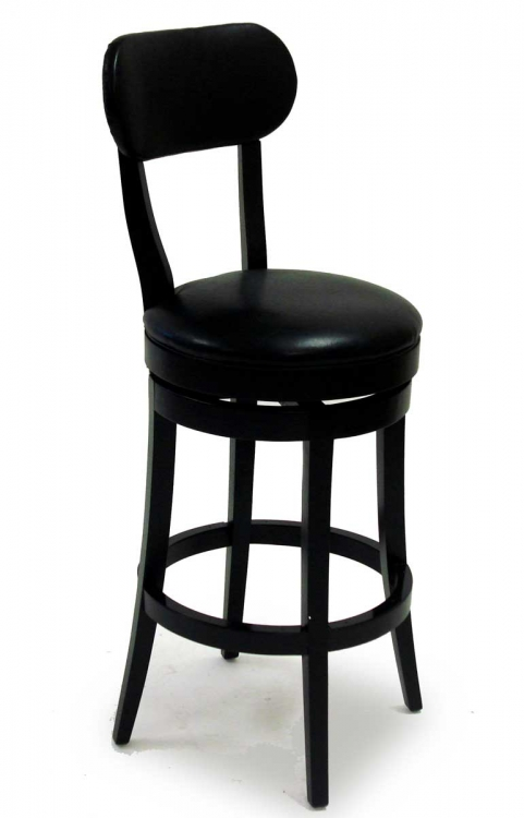 Roxy 26 Inch Swivel Barstool - Black Bicast Leather - Armen Living
