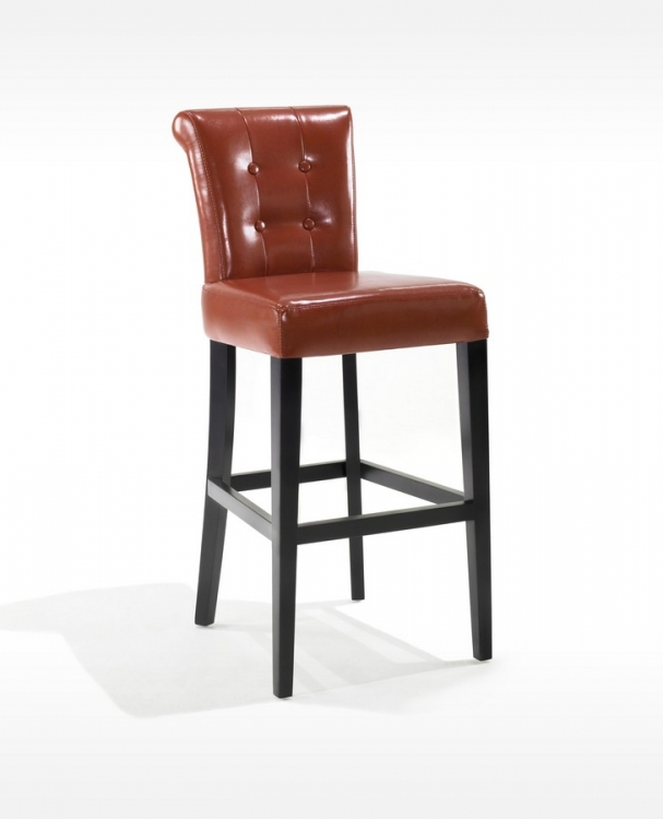 Sangria 26in Stationary Tufted Burnt Sienna Bonded Leather Counter High Barstool